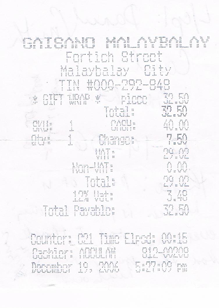 GreetingsTV Receipt Of Gaisano Store On Hallmark Card Bought For L - Tax invoice template word doc hallmark store online